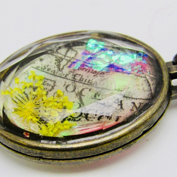 Handmade glass locket with resin  flowers  text